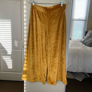Anthropologie gold wide leg pants